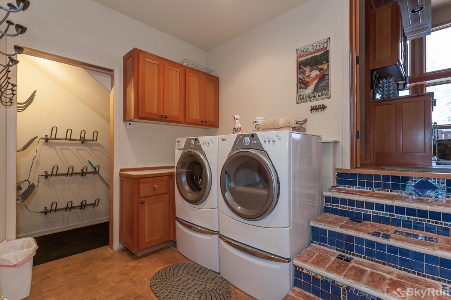 Highland Huckleberry Lodge Full laundry room and boot dryers available; plenty of ski storage in the garage